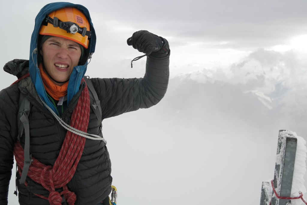 Juho on the summit of windy Dent Blanche.