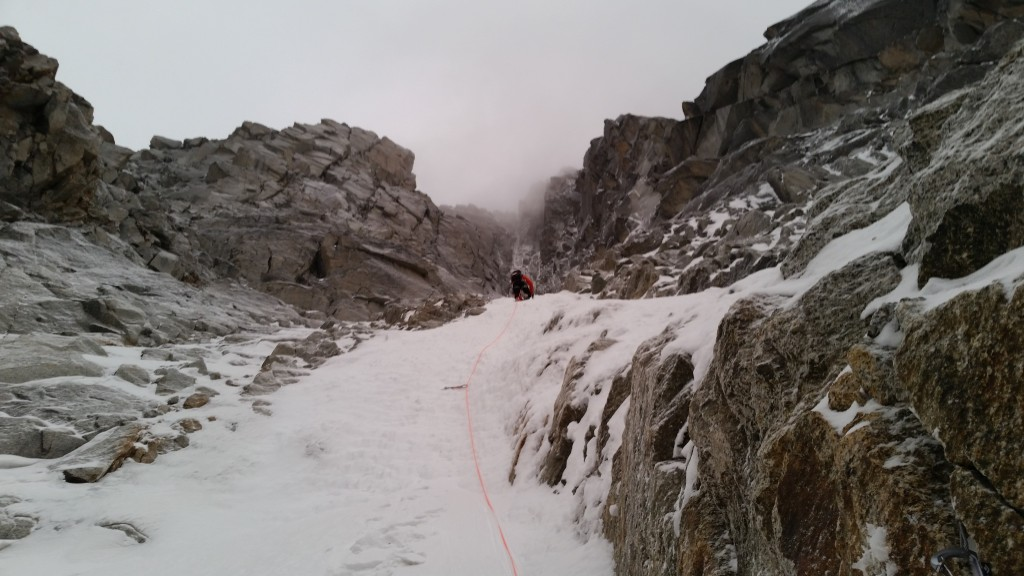 Kalle romping up the lower couloir.