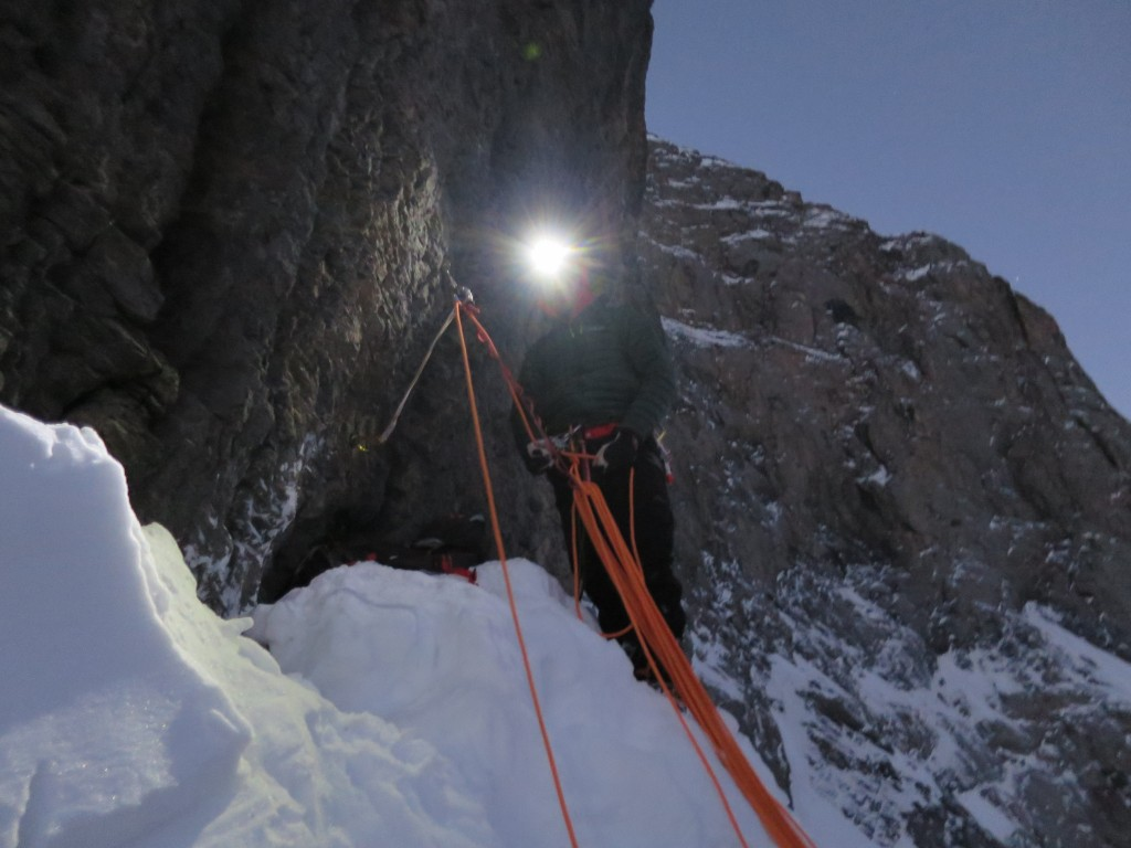 Kalle belaying at the Death bivouac.