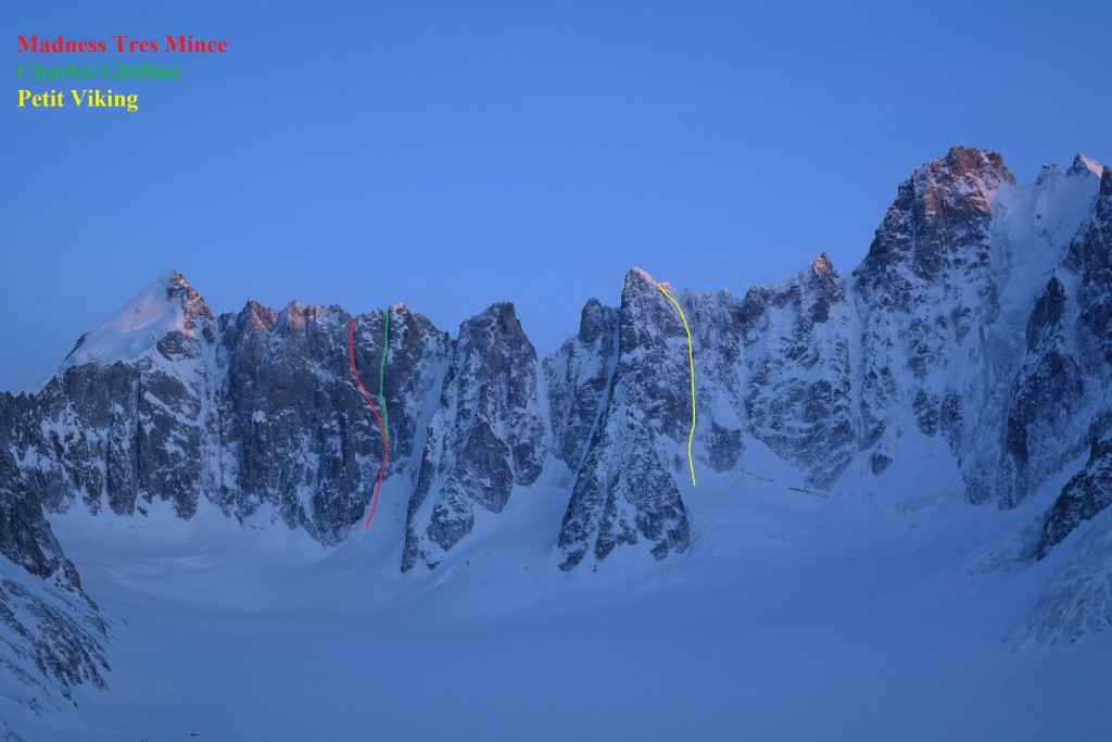 Classic goulottes in the far end of the Argentiere basin.