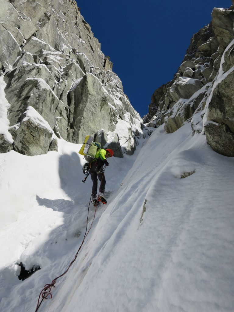 Four rappels down to Nant Blanc glacier.