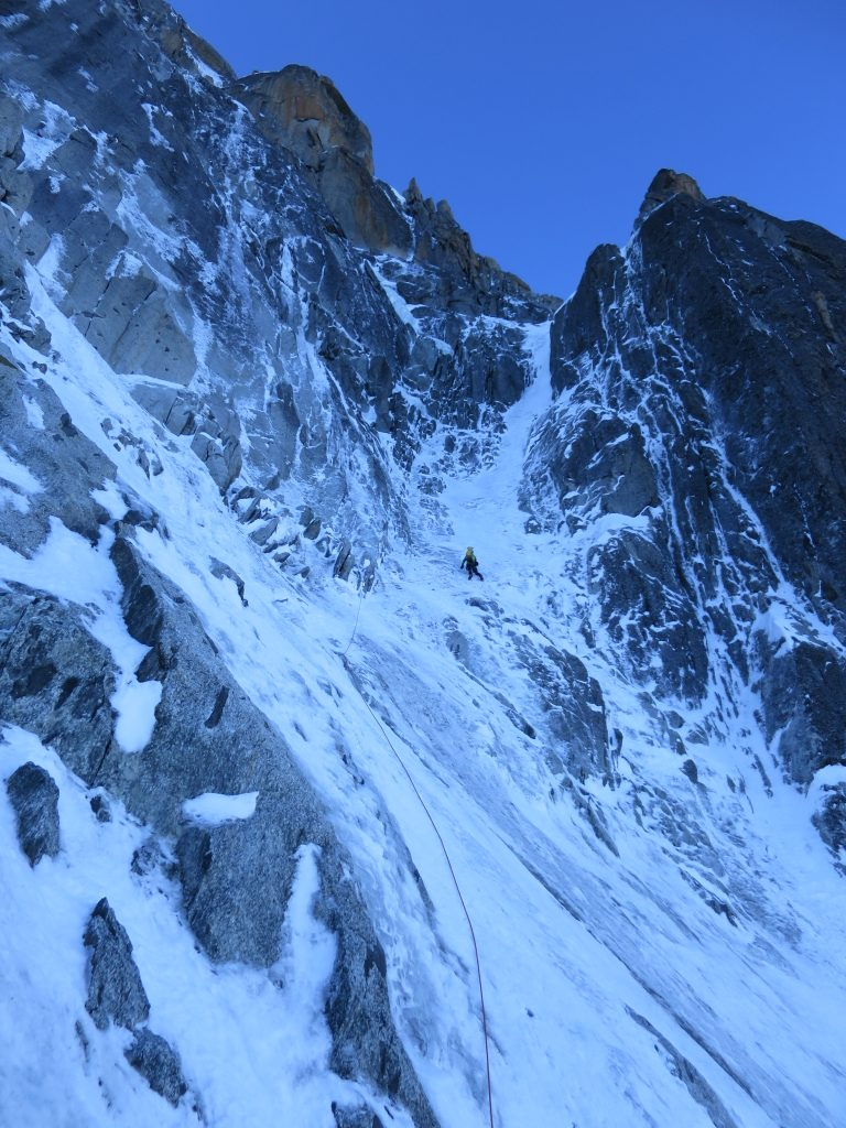 Tim entering to the Marsigny-Mohr couloir.