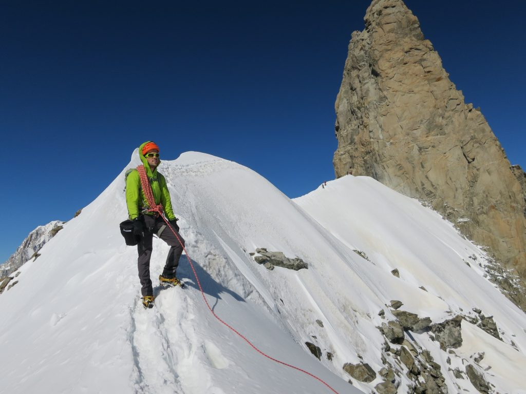 The real ridge climbing starts after the Dent du Geant.
