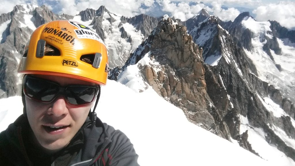 On the summit of the Aiguille Verte. Second time this summer.