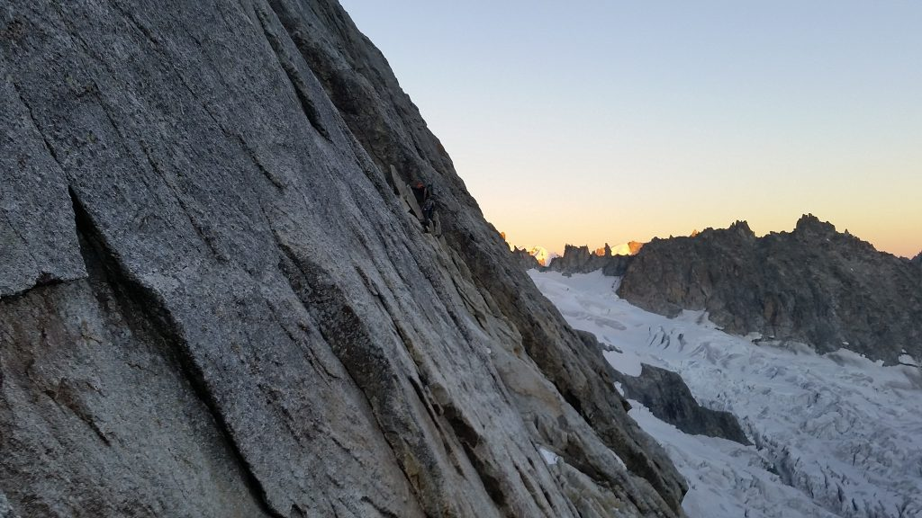 Easy angled slabs at Ice bands. Rebuffat corner was climbed in a dark.