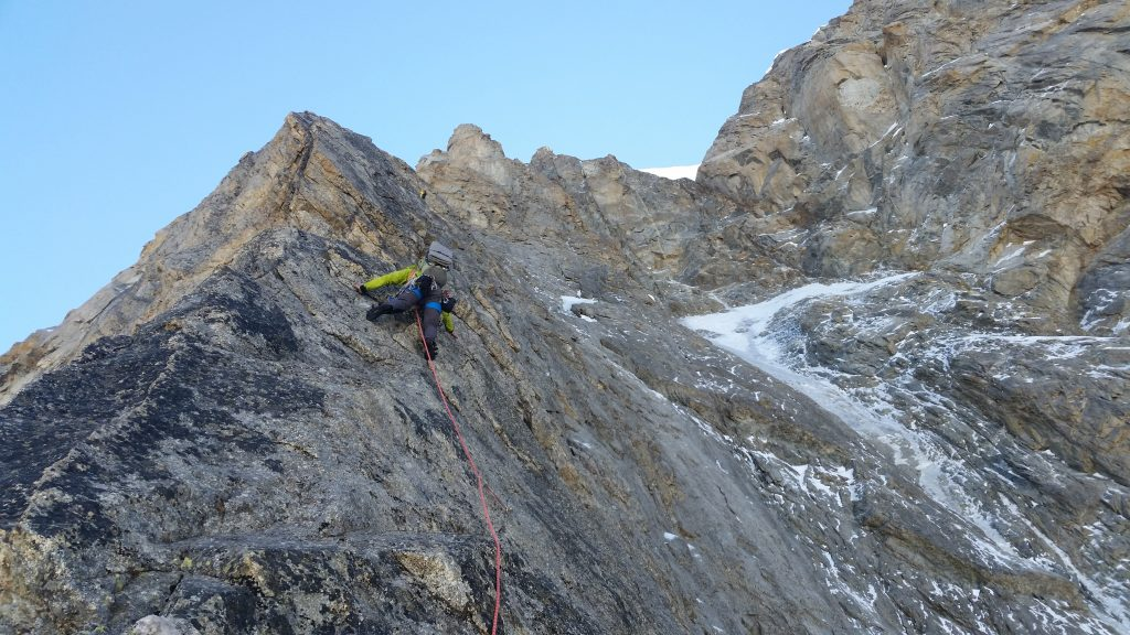 Long simul-climb section on the arete.