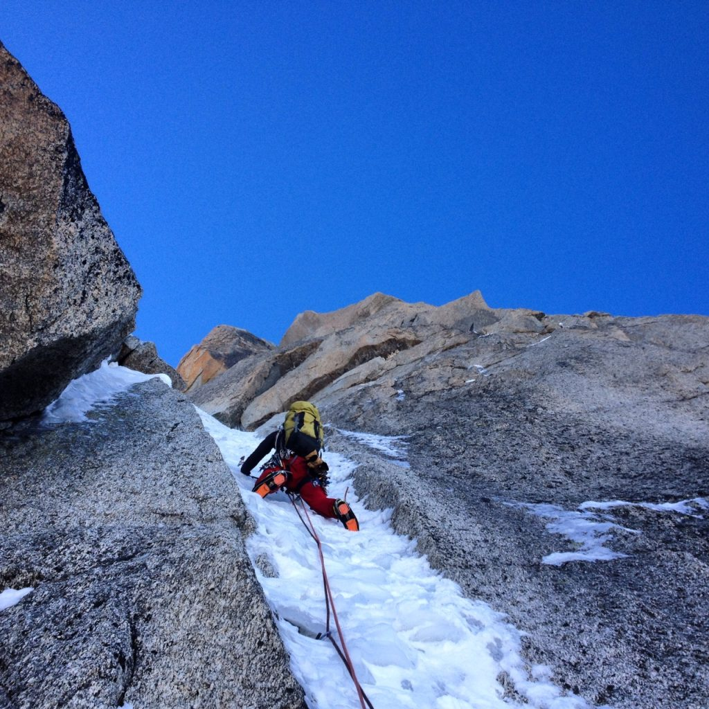 Juho climbing 80° ice.