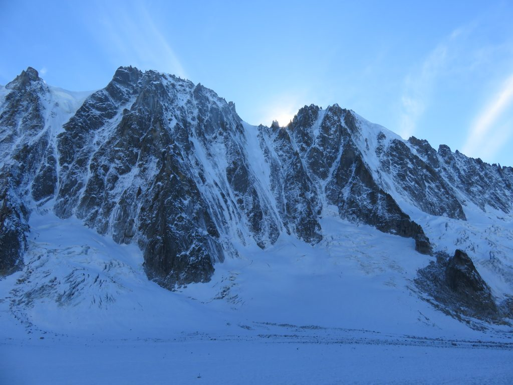 North face of the Les Droites and current conditions.